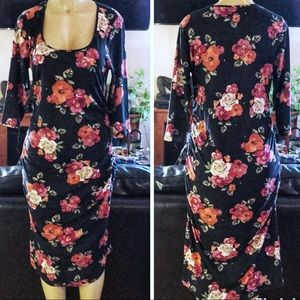 Cute Maternity Bodycon Floral Pink and Black Dress